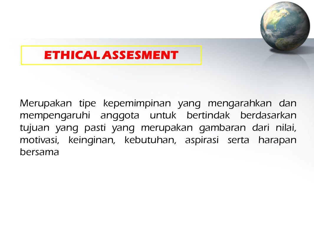ETHICAL ASSESMENT