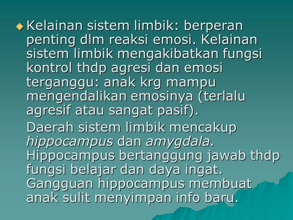Kelainan sistem limbik: berperan penting dlm reaksi emosi