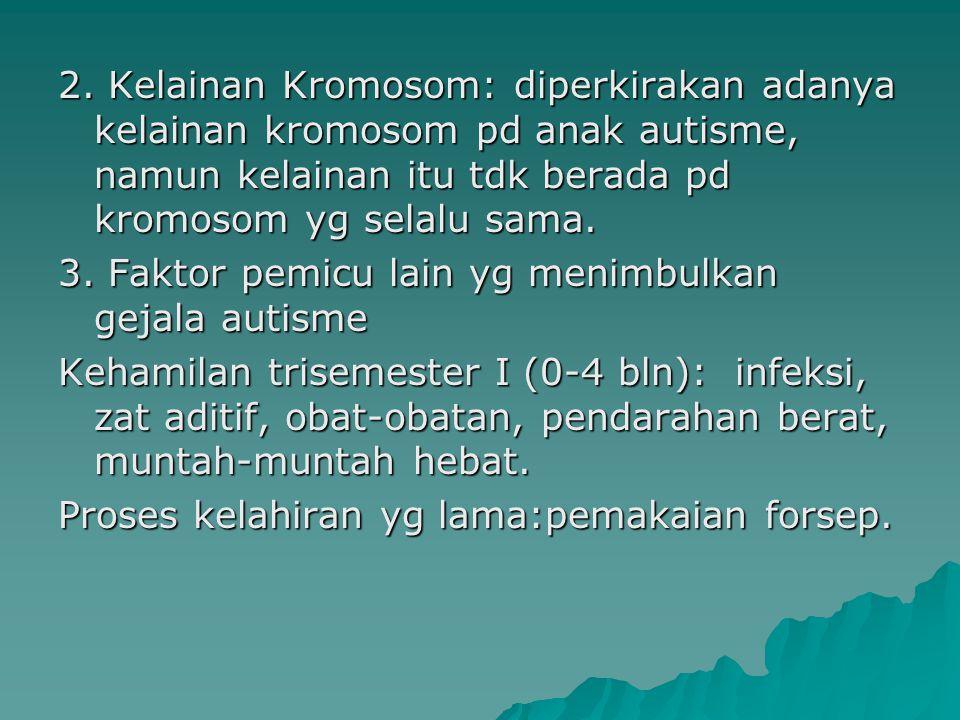 2. Kelainan Kromosom: diperkirakan adanya kelainan kromosom pd anak autisme, namun kelainan itu tdk berada pd kromosom yg selalu sama.