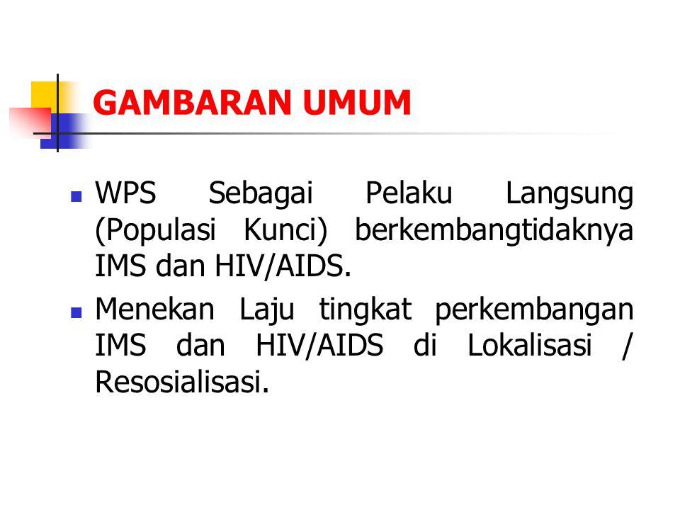 GAMBARAN UMUM WPS Sebagai Pelaku Langsung (Populasi Kunci) berkembangtidaknya IMS dan HIV/AIDS.