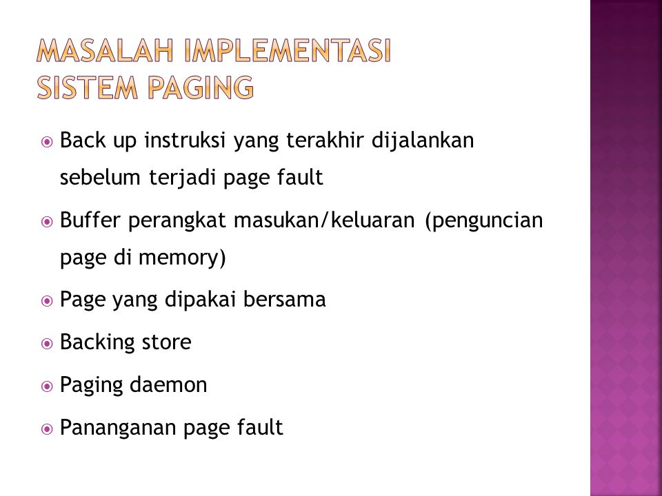 Masalah Implementasi sistem paging