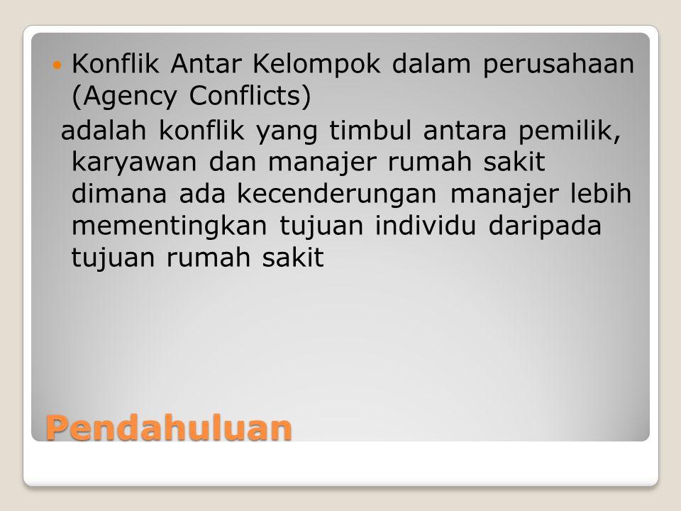 Pendahuluan Konflik Antar Kelompok dalam perusahaan (Agency Conflicts)