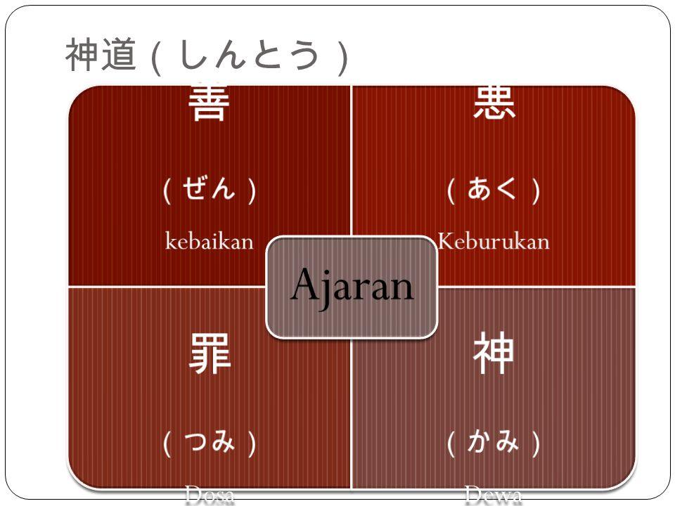 善 悪 罪 神 神道(しんとう) (ぜん) kebaikan (あく) Keburukan (つみ) Dosa (かみ) Dewa