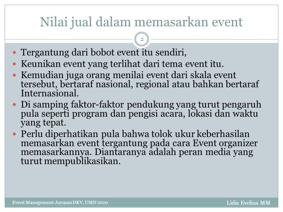 Nilai jual dalam memasarkan event