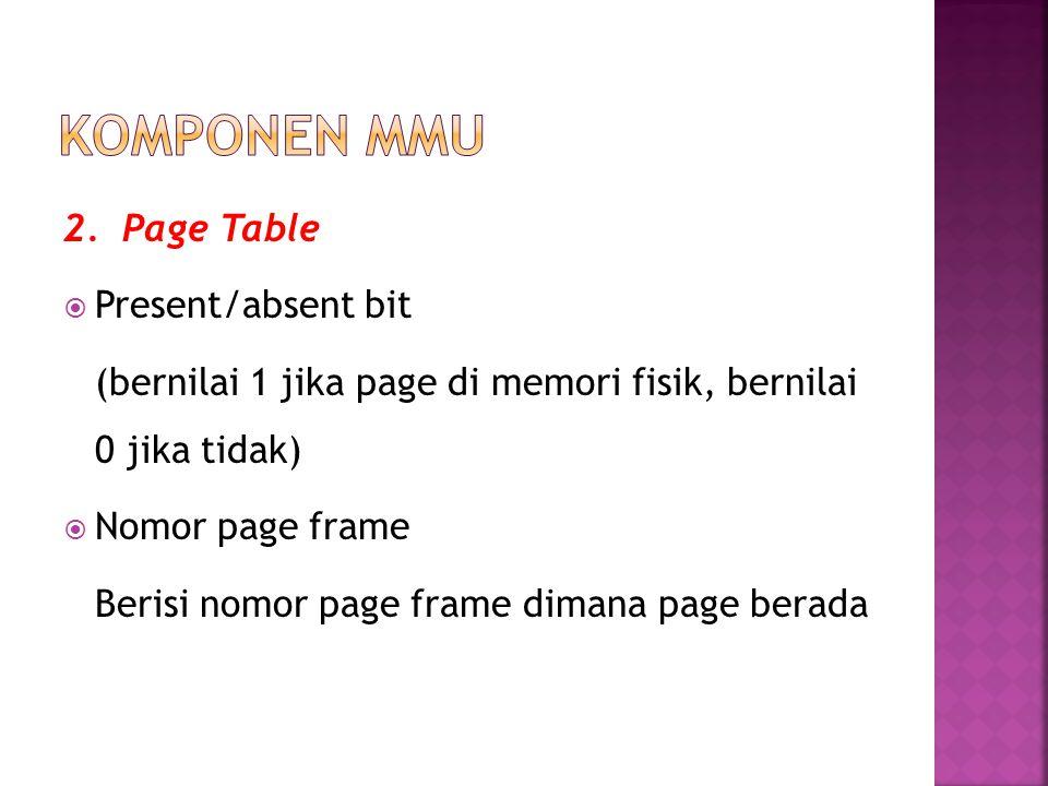 Komponen MMU 2. Page Table Present/absent bit