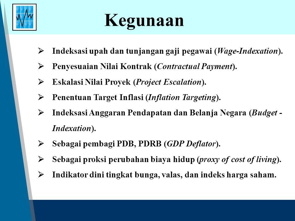 Kegunaan  Indeksasi upah dan tunjangan gaji pegawai (Wage-Indexation).  Penyesuaian Nilai Kontrak (Contractual Payment).