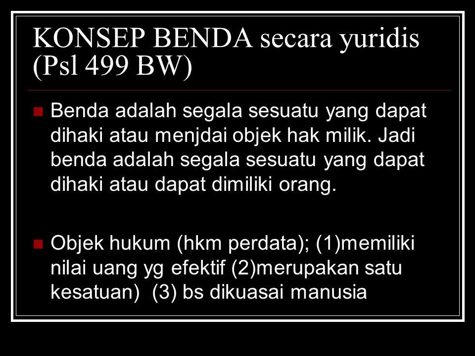 KONSEP BENDA secara yuridis (Psl 499 BW)