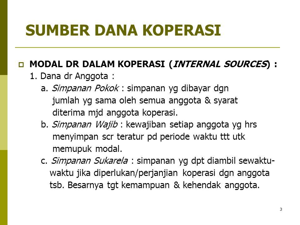 SUMBER DANA KOPERASI MODAL DR DALAM KOPERASI (INTERNAL SOURCES) :