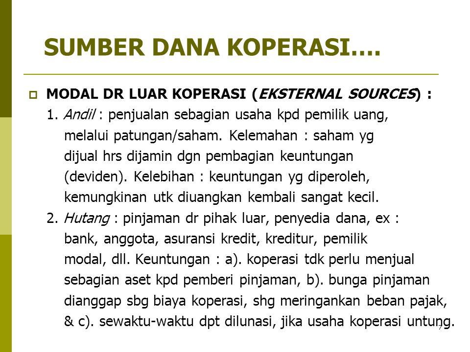 SUMBER DANA KOPERASI…. MODAL DR LUAR KOPERASI (EKSTERNAL SOURCES) :