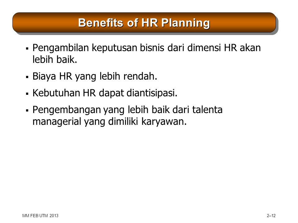 Benefits of HR Planning