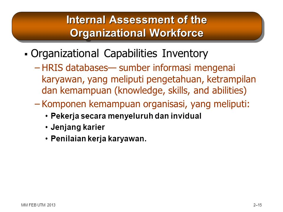 Internal Assessment of the Organizational Workforce