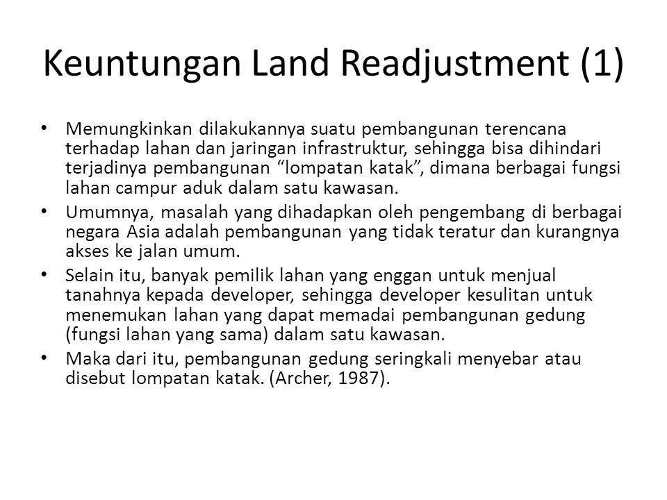 Keuntungan Land Readjustment (1)