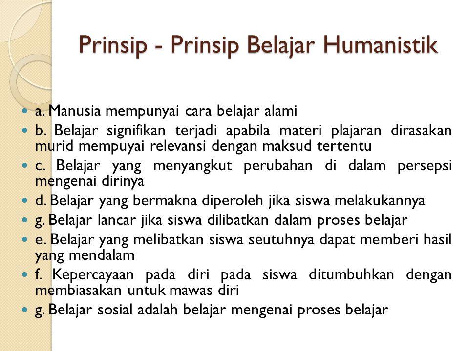 Prinsip - Prinsip Belajar Humanistik