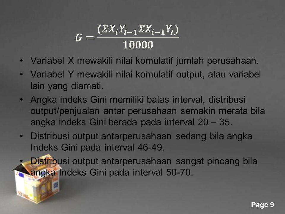 Variabel X mewakili nilai komulatif jumlah perusahaan.