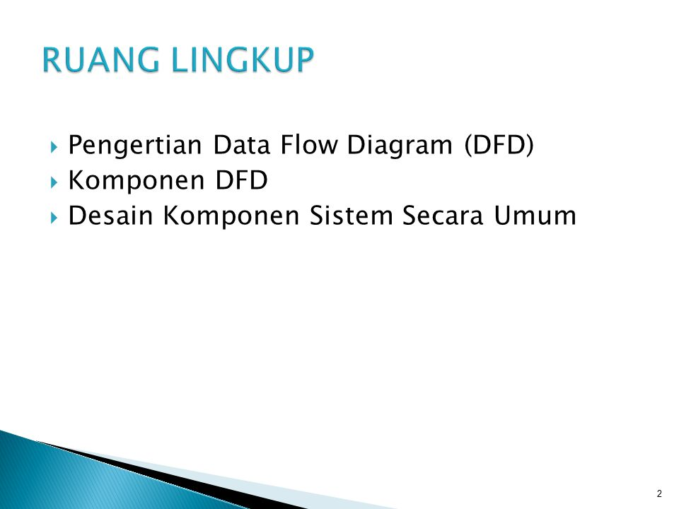RUANG LINGKUP Pengertian Data Flow Diagram (DFD) Komponen DFD
