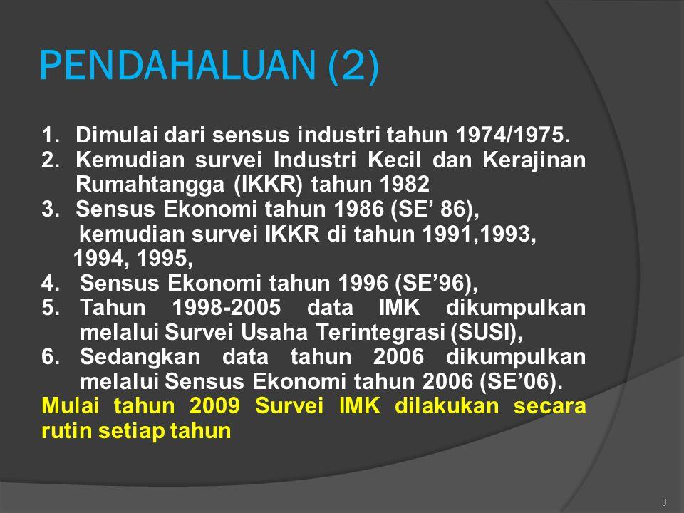 PENDAHALUAN (2) Dimulai dari sensus industri tahun 1974/1975.