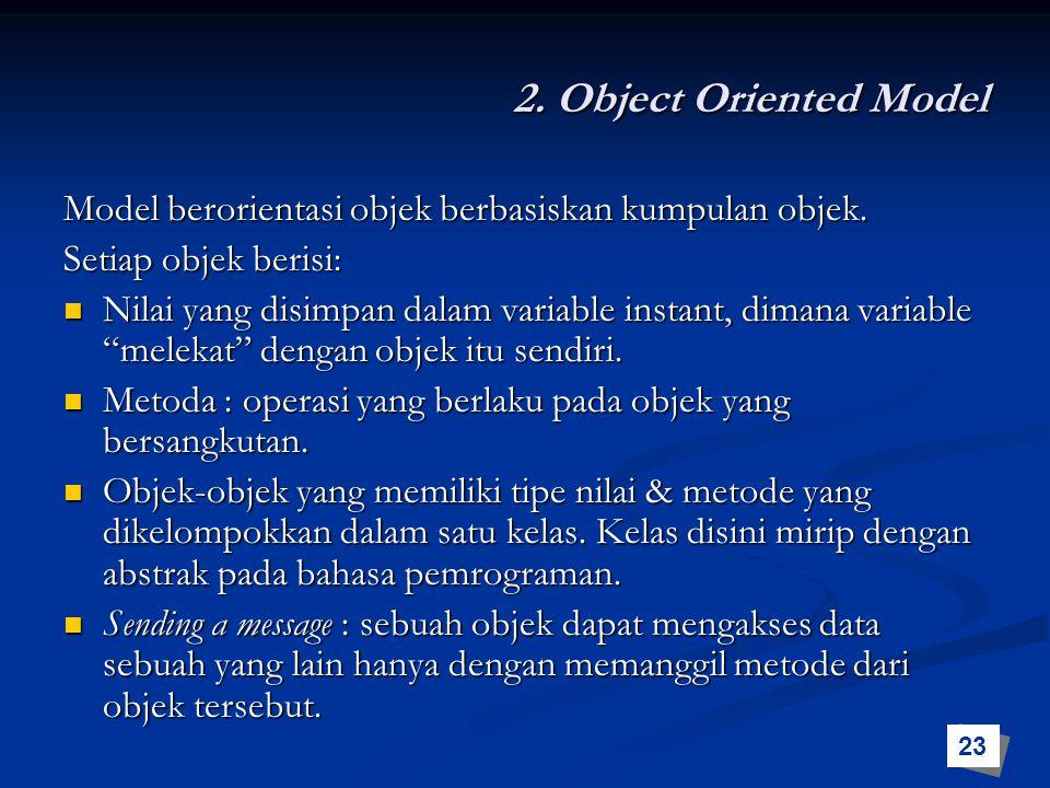 2. Object Oriented Model Model berorientasi objek berbasiskan kumpulan objek. Setiap objek berisi: