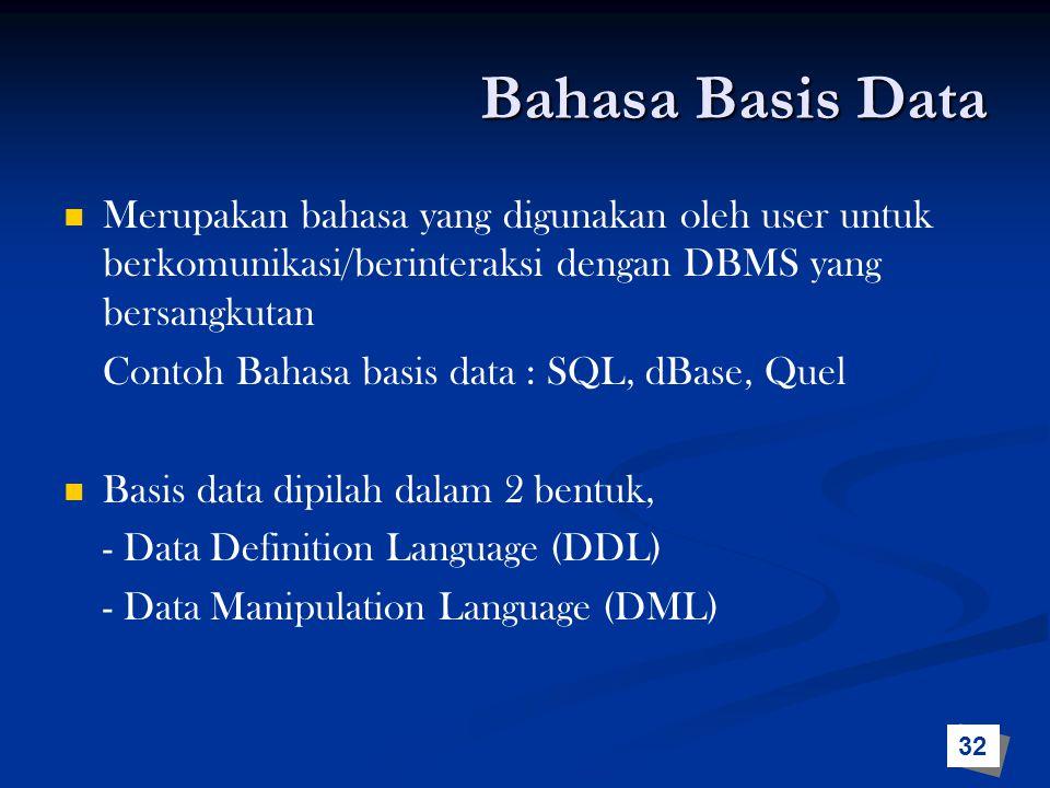 Bahasa Basis Data Merupakan bahasa yang digunakan oleh user untuk berkomunikasi/berinteraksi dengan DBMS yang bersangkutan.