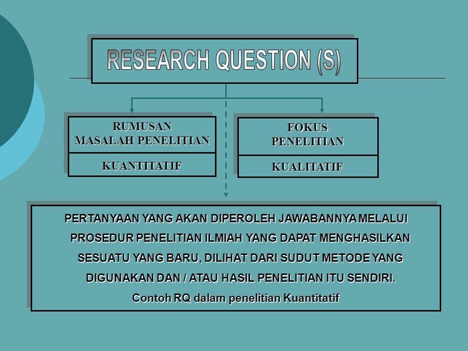 Contoh RQ dalam penelitian Kuantitatif