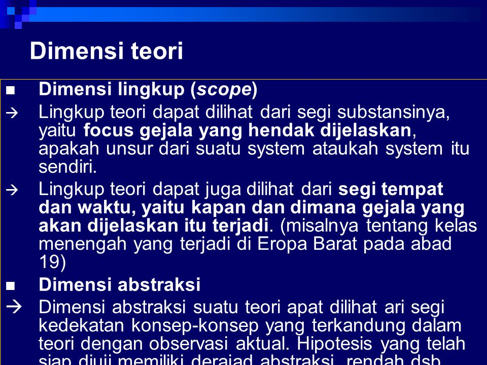 Dimensi teori Dimensi lingkup (scope)