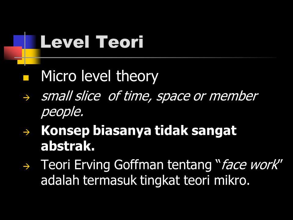Level Teori Micro level theory