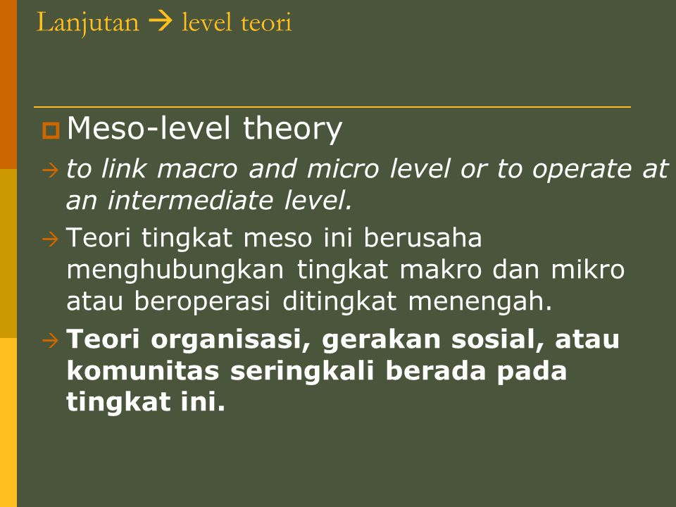 Meso-level theory Lanjutan  level teori