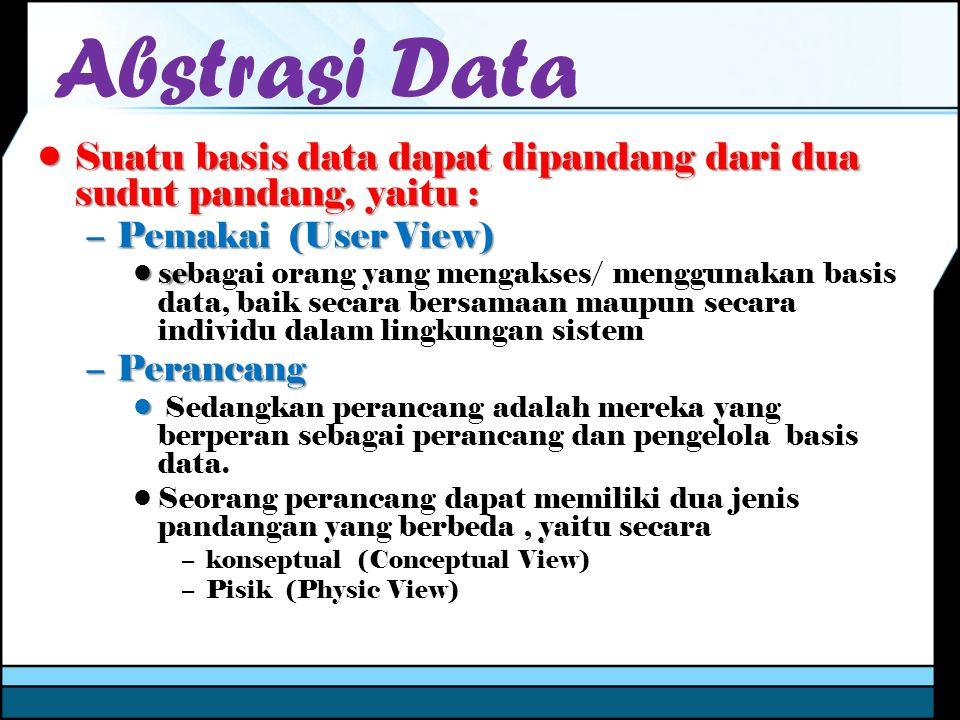 Abstrasi Data Suatu basis data dapat dipandang dari dua sudut pandang, yaitu : Pemakai (User View)