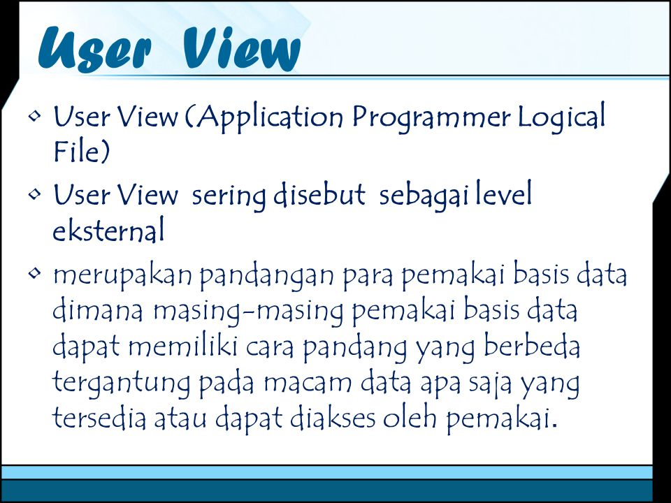 User View User View (Application Programmer Logical File)