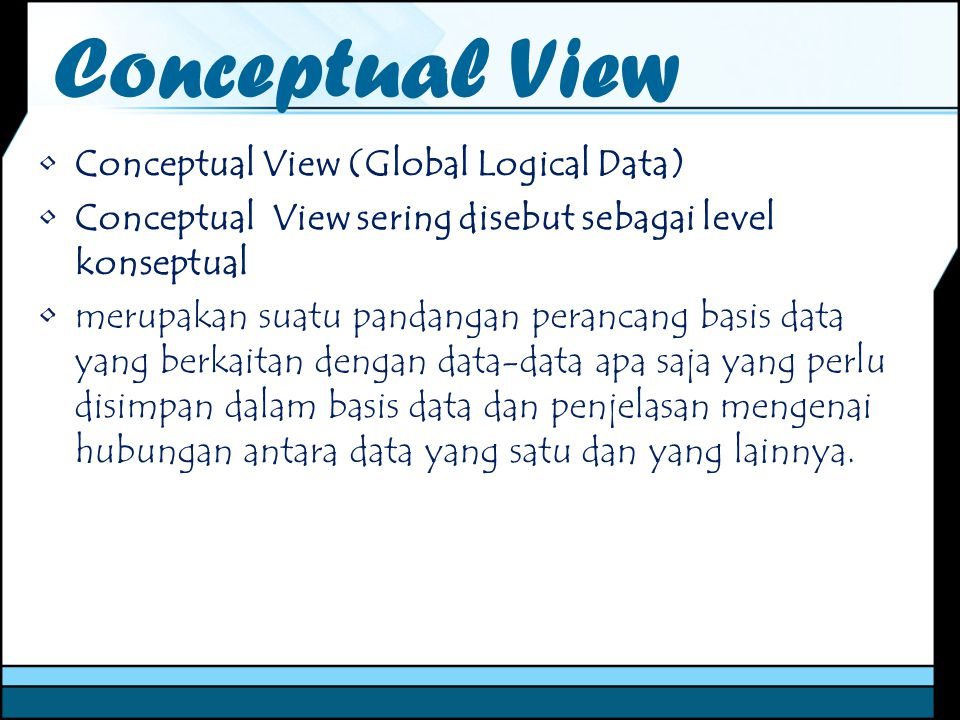 Conceptual View Conceptual View (Global Logical Data)
