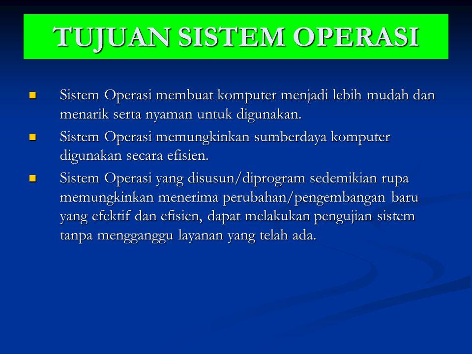 TUJUAN SISTEM OPERASI Sistem Operasi membuat komputer menjadi lebih mudah dan menarik serta nyaman untuk digunakan.