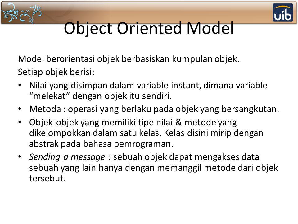 Object Oriented Model Model berorientasi objek berbasiskan kumpulan objek. Setiap objek berisi: