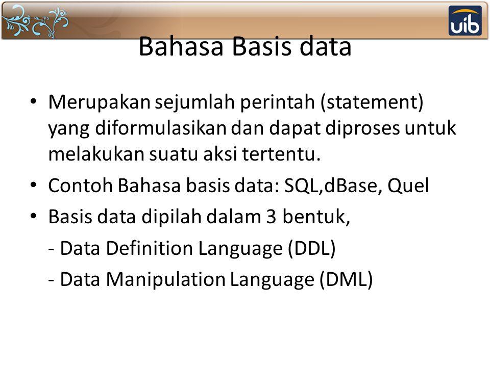 Bahasa Basis data Merupakan sejumlah perintah (statement) yang diformulasikan dan dapat diproses untuk melakukan suatu aksi tertentu.