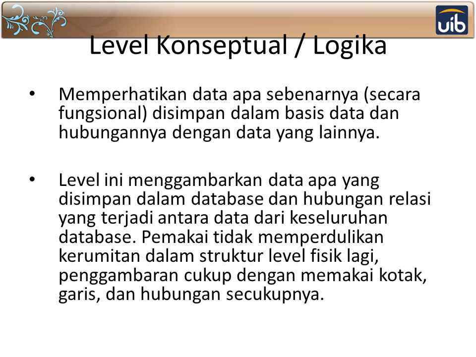 Level Konseptual / Logika
