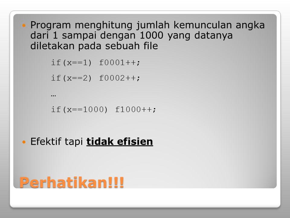 Program menghitung jumlah kemunculan angka dari 1 sampai dengan 1000 yang datanya diletakan pada sebuah file
