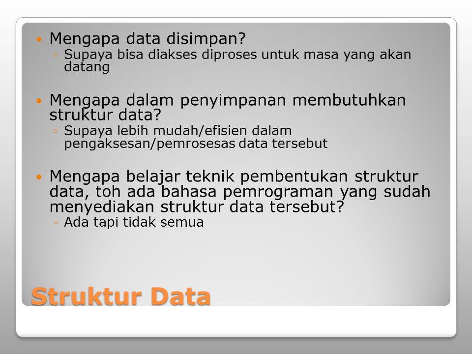 Struktur Data Mengapa data disimpan