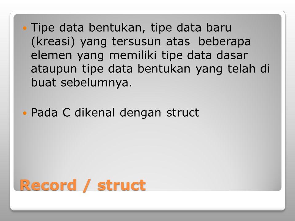Tipe data bentukan, tipe data baru (kreasi) yang tersusun atas beberapa elemen yang memiliki tipe data dasar ataupun tipe data bentukan yang telah di buat sebelumnya.