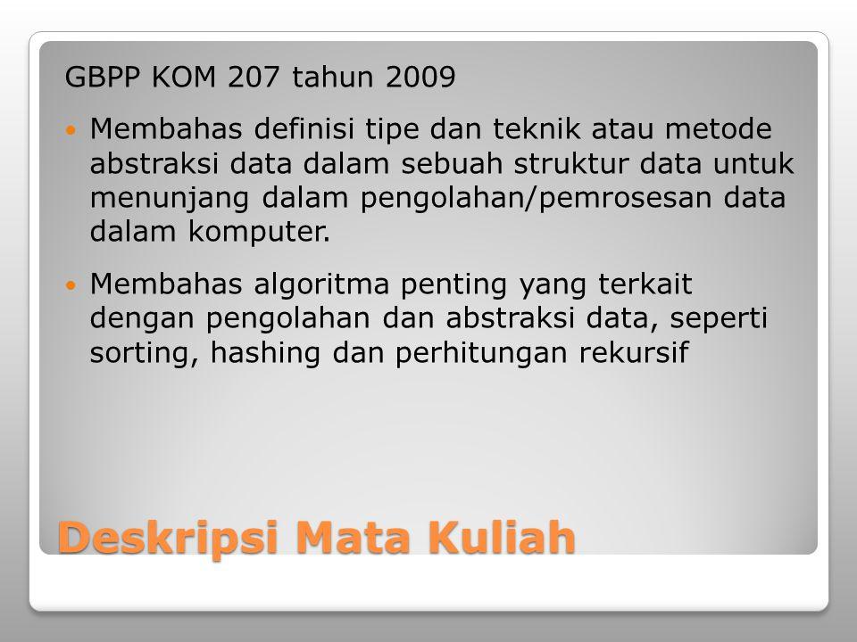 Deskripsi Mata Kuliah GBPP KOM 207 tahun 2009