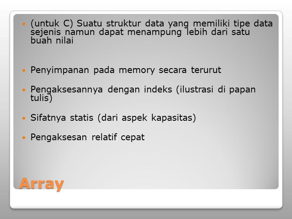 (untuk C) Suatu struktur data yang memiliki tipe data sejenis namun dapat menampung lebih dari satu buah nilai