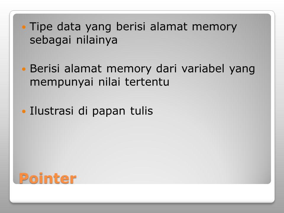 Pointer Tipe data yang berisi alamat memory sebagai nilainya