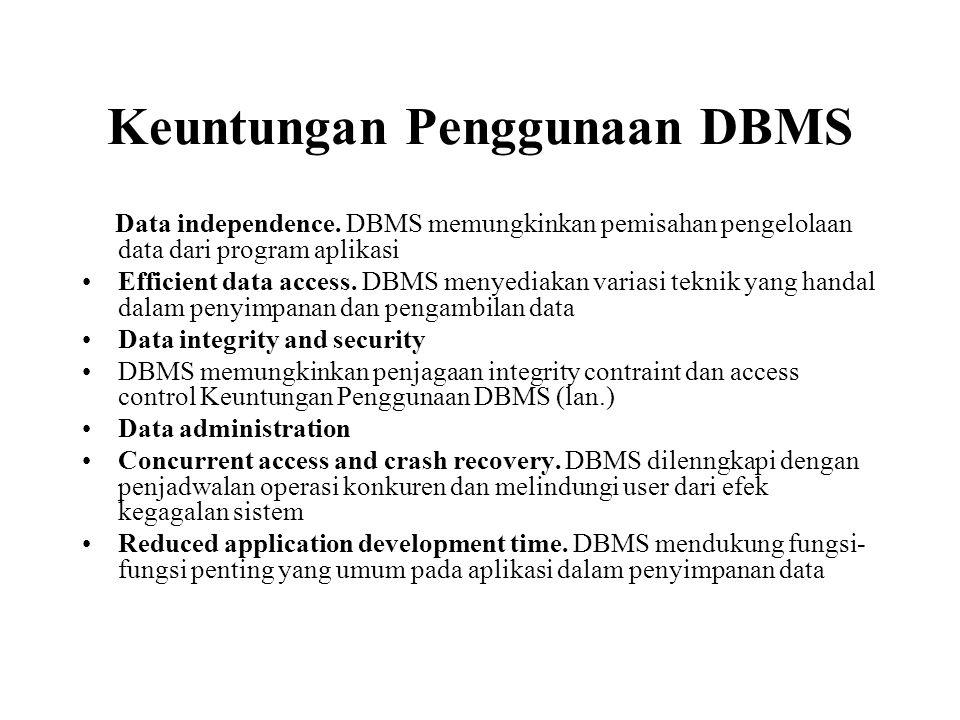 Keuntungan Penggunaan DBMS
