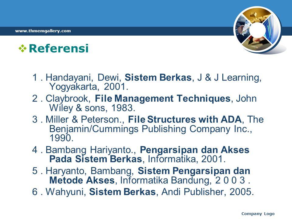 www.thmemgallery.com Referensi. 1 . Handayani, Dewi, Sistem Berkas, J & J Learning, Yogyakarta, 2001.