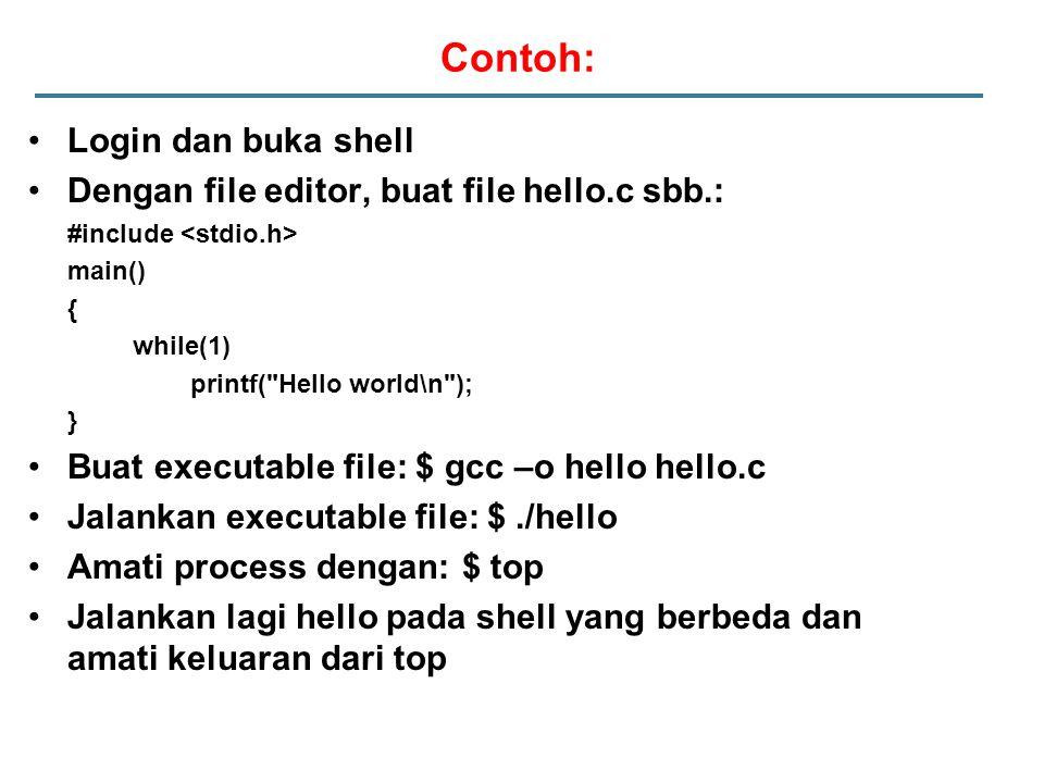 Contoh: Login dan buka shell