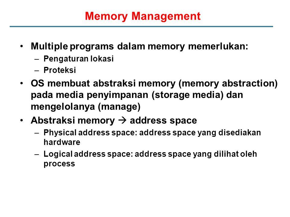 Memory Management Multiple programs dalam memory memerlukan: