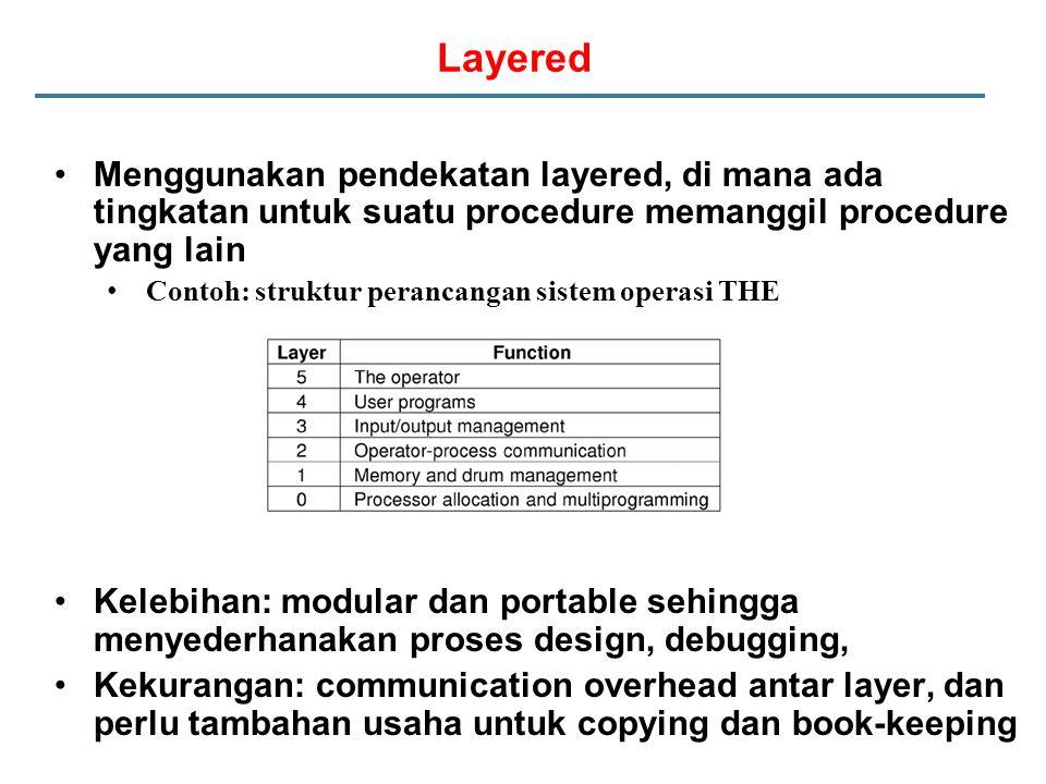 Layered Menggunakan pendekatan layered, di mana ada tingkatan untuk suatu procedure memanggil procedure yang lain.