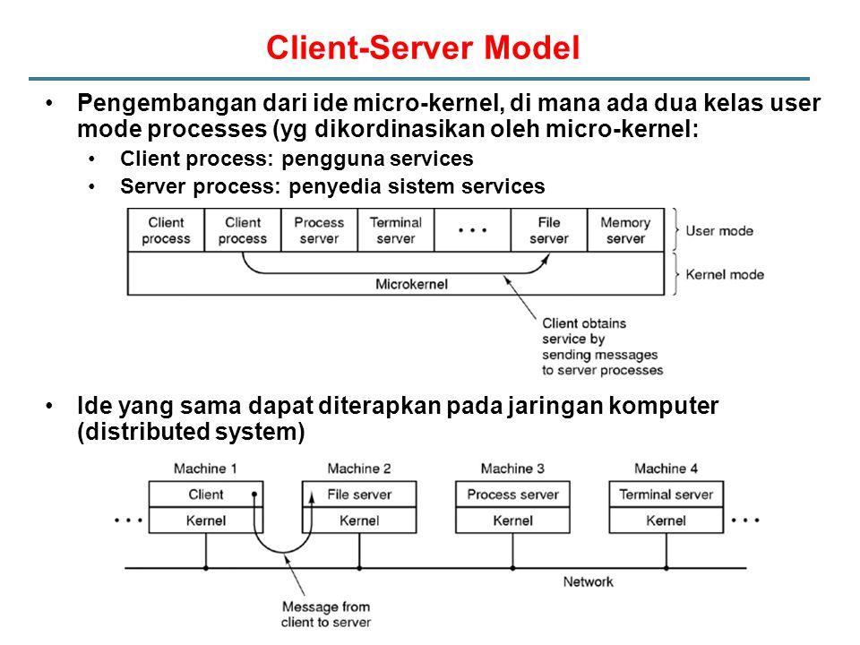 Client-Server Model Pengembangan dari ide micro-kernel, di mana ada dua kelas user mode processes (yg dikordinasikan oleh micro-kernel: