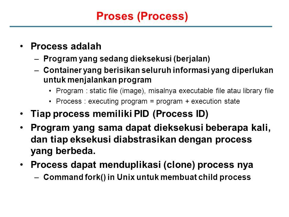 Proses (Process) Process adalah Tiap process memiliki PID (Process ID)