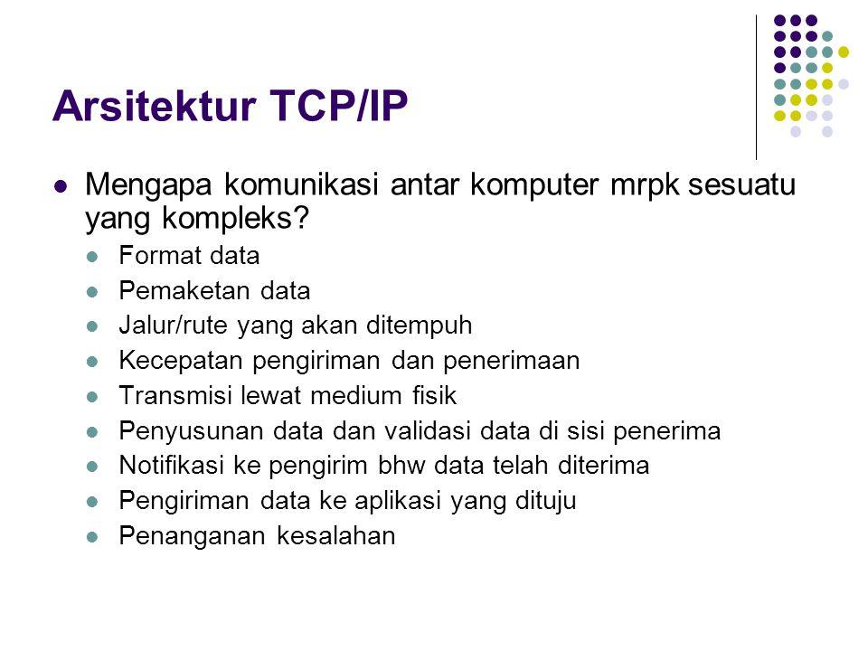 Arsitektur TCP/IP Mengapa komunikasi antar komputer mrpk sesuatu yang kompleks Format data. Pemaketan data.