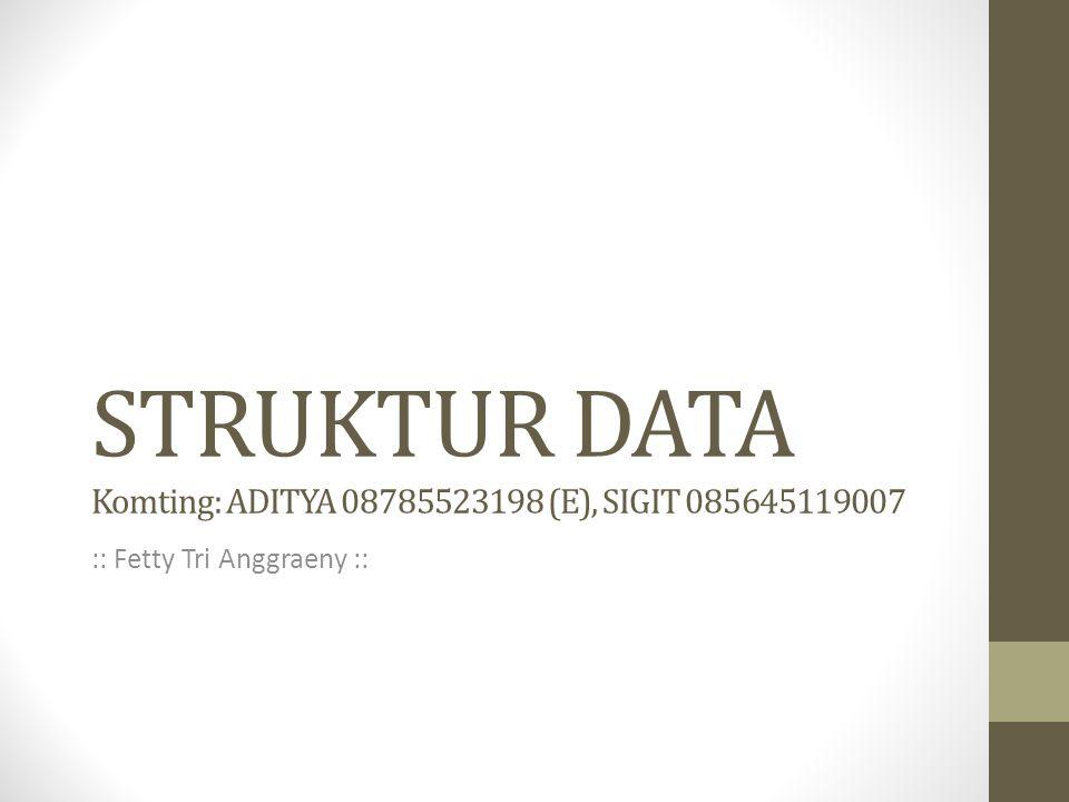 STRUKTUR DATA Komting: ADITYA 08785523198 (E), SIGIT 085645119007
