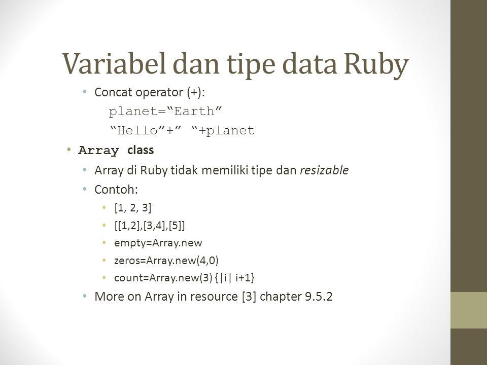 Variabel dan tipe data Ruby