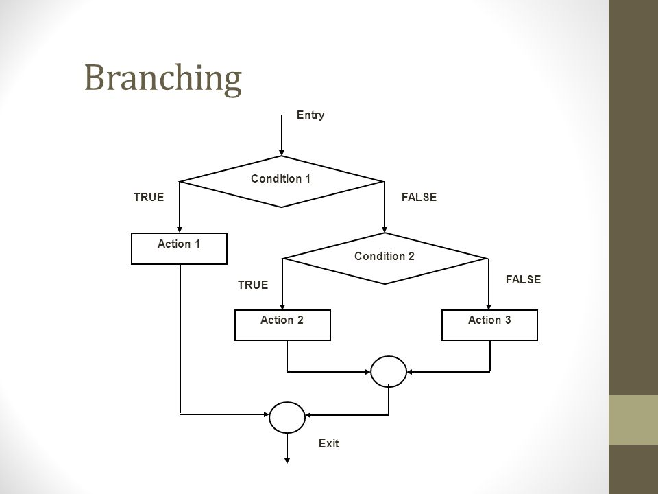 Branching Entry Condition 1 Action 1 Condition 2 Action 3 Action 2